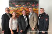 v.l.n.r. Präsident Hartmut Ziebs, Lilian Harms DFV, Eckhard Schwill, Andreas Hemsing, Valentino Tagliafierro (© DFV)